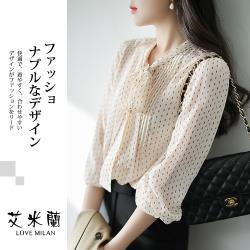 【艾米蘭】韓版咖啡點襯衫領綁帶造型上衣(M-XL)