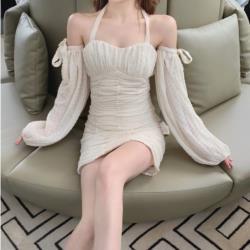 性感露背綁帶可拆卸燈籠袖褶皺連衣裙