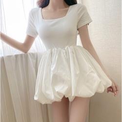 方領收腰顯瘦蓬蓬短裙