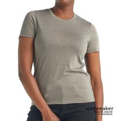 【icebreaker】 女 Dowlas 圓領短袖條紋上衣-JN165-燧石褐 IB105487-321 排汗/快乾/登山健行