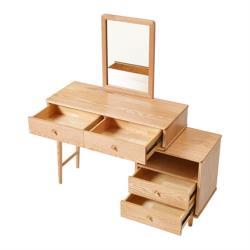 hoi!好好生活 林氏木業北歐森林白橡木可伸縮化妝桌 CR1C-原木色