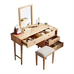 hoi!好好生活 林氏木業北歐森林白橡木可伸縮化妝桌 CR1C-原木色 (含妝凳 CR1H)
