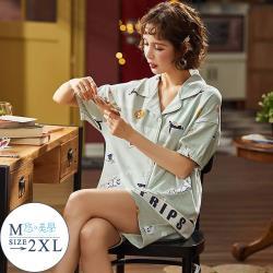 【悠美學】精梳棉短袖印花居家服套裝-動物太空員(M-2XL)