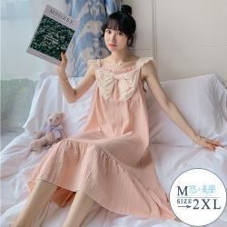 【悠美學】精梳棉花邊肩帶優雅居家服洋裝(M-2XL)