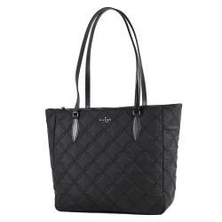 KATE SPADE 衍縫衍縫格紋高密度尼龍拉鍊托特包-黑色