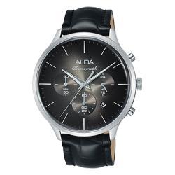 【ALBA】送禮首選 三眼計時男錶 皮革錶帶 黑 防水100米  日期顯示 分段時間(AT3B43X1)