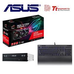 華碩6700XT組合 STRIX-RX6700XT-O12G-GAMING+海王星 PRO 機械式鍵盤 (青軸)+華碩 24X 燒錄機 (裸)*2