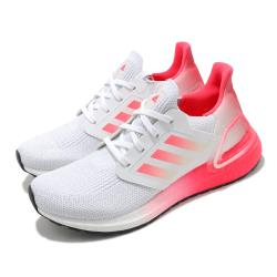 adidas 慢跑鞋 Ultraboost 20 J 運動 女鞋 海外限定 愛迪達 舒適 避震 路跑 白 粉 FX0456 [ACS 跨運動]