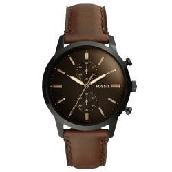 【FOSSIL】都會計時男錶 深棕色錶面 防水50米(FS5437)