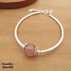 【海洋盒子】甜美草莓晶花邊銀管925純銀手鍊