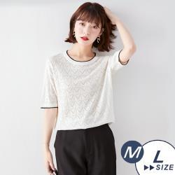【LANNI 藍尼】現+預 簍空氣質圓領純色針織衫(針織衫/上衣)