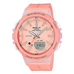 【CASIO 卡西歐】BABY-G 輕巧計步雙顯女錶 橡膠錶帶 夢幻粉橘(BGS-100-4A)