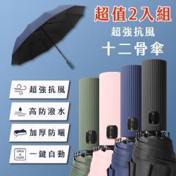 [CP値爆表] 強抗風防曬十二骨傘- 顏色任選2入組