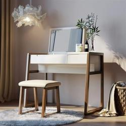 hoi!好好生活 林氏木業簡約實木框亮光漆面掀蓋化妝桌組 BA1C (含妝凳 BA1H)