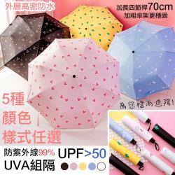 QIDINA 可愛晴雨兩用加長抗UV摺疊手動傘