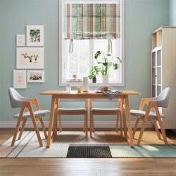 hoi!好好生活 林氏木業北歐清新白橡木餐桌 1.6M LS046+餐椅 (一桌四椅)-原木色