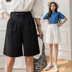 Dorri-時尚後鬆緊純色五分西裝寬褲S-XL(共二色)