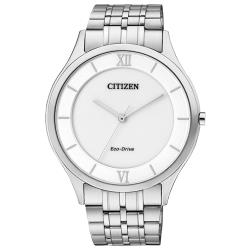 【CITIZEN 星辰】指針光動能男錶 不鏽鋼錶帶 白色錶面 日常生活防水(AR0070-51A)