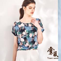 【TOWN'WEAR 棠葳】熱帶棕櫚葉印花短版上衣