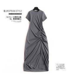 GIFT-不規則抽褶連衣裙純色開衩直筒裙