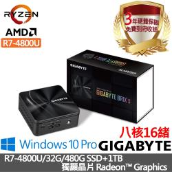 |技嘉迷你電腦|R7-4800U八核16緒|32G/480G SSD+1TB/獨顯晶片Radeon™ Graphics/Win10 Pro進階電腦