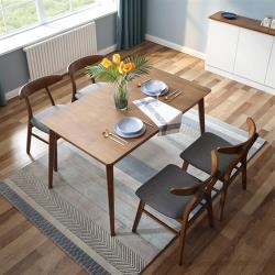 hoi!好好生活 林氏木業現代簡約實木腳可伸縮餐桌 LS150