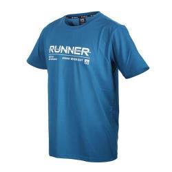 FIRESTAR 男彈性印花圓領短袖T恤-運動 慢跑 路跑 上衣 吸濕排汗 反光