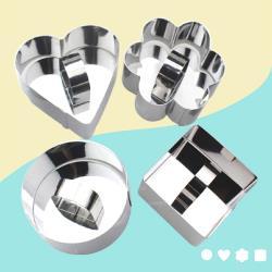 不鏽鋼烘培造型帶推片模具組(4入)