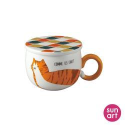 日本 sunart 馬克杯磁磚墊-虎斑貓(附杯墊)