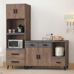 Boden-奧米6尺工業風仿石面L型多功能餐櫃組合(2尺高餐櫃+4尺餐櫃)