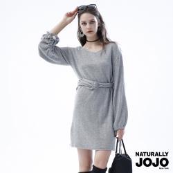 【NATURALLY JOJO】設計款縮口袖洋裝 (灰)