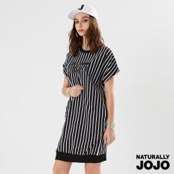 【NATURALLY JOJO】經典條紋原創印洋裝  (撞色)