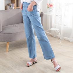 BabyCross 鬆緊腰身牛仔直筒寬褲(2色)