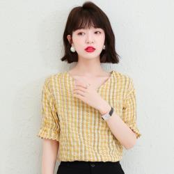 白色戀人-柔雅氣質格紋V領喇叭袖淑女衫S-2XL