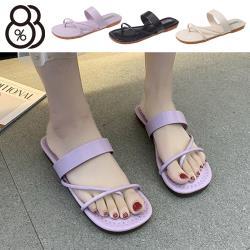 【88%】2cm涼鞋 優雅氣質百搭 皮革平底圓頭涼拖鞋