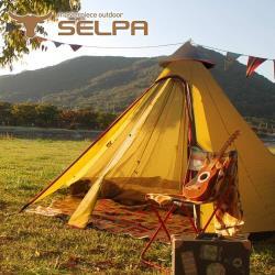 韓國SELPA 升級款一房一廳 印地安帳 露營 帳篷 家庭帳 五人 大型(兩色任選)