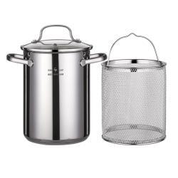 PUSH!廚房用品304不銹鋼油炸鍋日式天婦羅省油鍋炸物油鍋配過濾網D252