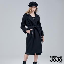 【NATURALLY JOJO】  西裝領長呢鋪棉大衣 (黑)