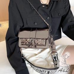 【A&L老工匠】真皮閃耀字母方包Marian牛皮肩背側背包-古銅香檳