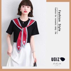 【UGIZ】修身氣質圓領綁帶造型上衣(M~XL)