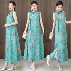 REKO-暈染綠色薄麻無袖寬鬆旗袍洋裝L-3XL
