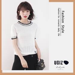 【UGIZ】修身優雅圓領坑條素色造型上衣(F)