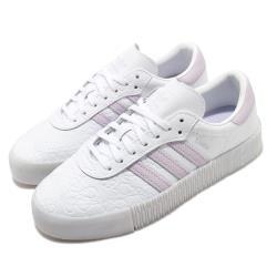 adidas 休閒鞋 Sambarose 厚底 女鞋 愛迪達 三葉草 壓紋 皮革鞋面 穿搭 白 紫 FV0770 [ACS 跨運動]