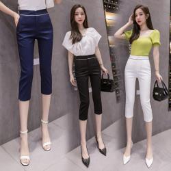白色戀人-腰部條紋設計單釦七分西裝小腳褲XS-2XL(共四色)