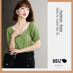 【UGIZ】修身優雅款V領燈籠袖素色造型上衣(M~XL)