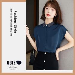 【UGIZ】修身氣質款翻領素色造型上衣(M~XL)