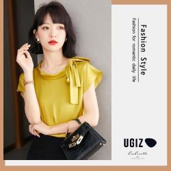 【UGIZ】修身名媛風圓領素色綁帶造型上衣(M~XL)