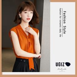 【UGIZ】修身優雅翻領綁帶素色造型上衣(M~XL)