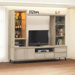Boden-尼克7尺玻璃門電視櫃組合/多功能收納電視牆(展示櫃+長櫃+收納櫃)