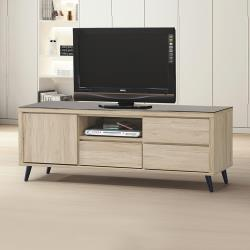 Boden-尼克4尺黑色強化玻璃電視櫃/長櫃/視聽櫃